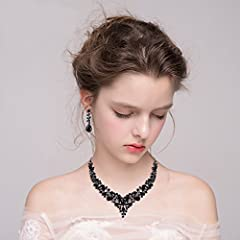 Clearine Women's Wedding Bridal Austrian Crystal Teardrop Cluster Statement Necklace Dangle Earrings Set Black Black-Tone #2