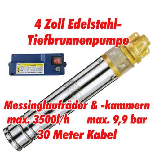"""Agora-Tec® AT- 4\"""" Brunnenpumpe 1100W mit 30 m Kabel Edelstahl-Tiefbrunnenpumpe mit Messinglaufrädern und max: 9,9 bar, max: 3000 l/h"""