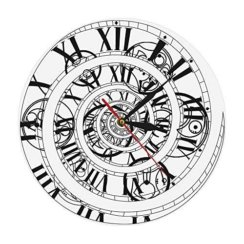 12 pouces (30 cm) temps perdu horloge murale courant de Foucault horloge murale axe du temps horloge murale quartz mouvement silencieux chiffres romains abstraction décoration de la maison sans cadre