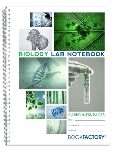 "BookFactory Carbonless Biology Lab Notebook - 25 Sets of Pages (8.5"" X 11"") (Duplicator) - Scientific Grid Pages, Durable Translucent Cover, Wire-O Binding (LAB-025-7GW-D (Biology))"