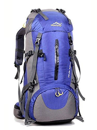 Minetom Sacs De Trekking 50L Adulte Extérieur Randonnée Camping Voyage Anti-Pluie Sports Imperméable Sac À Dos Violet One Size(30 * 20 * 60 cm)