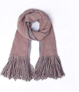 PANFU-AU Imitation Cashmere Increase Thick Keep Warm Big Shawl Autumn Winter Long Tassel Double-sided Solid Color Scarf