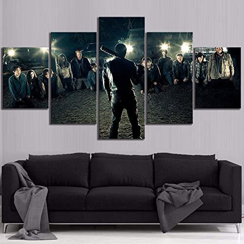 bksptop Pintura de Lienzo de 5 Piezas The Walking Dead Movie Poster HD Pictures Wall Art Pinturas Decorativas para Sala de Estar...