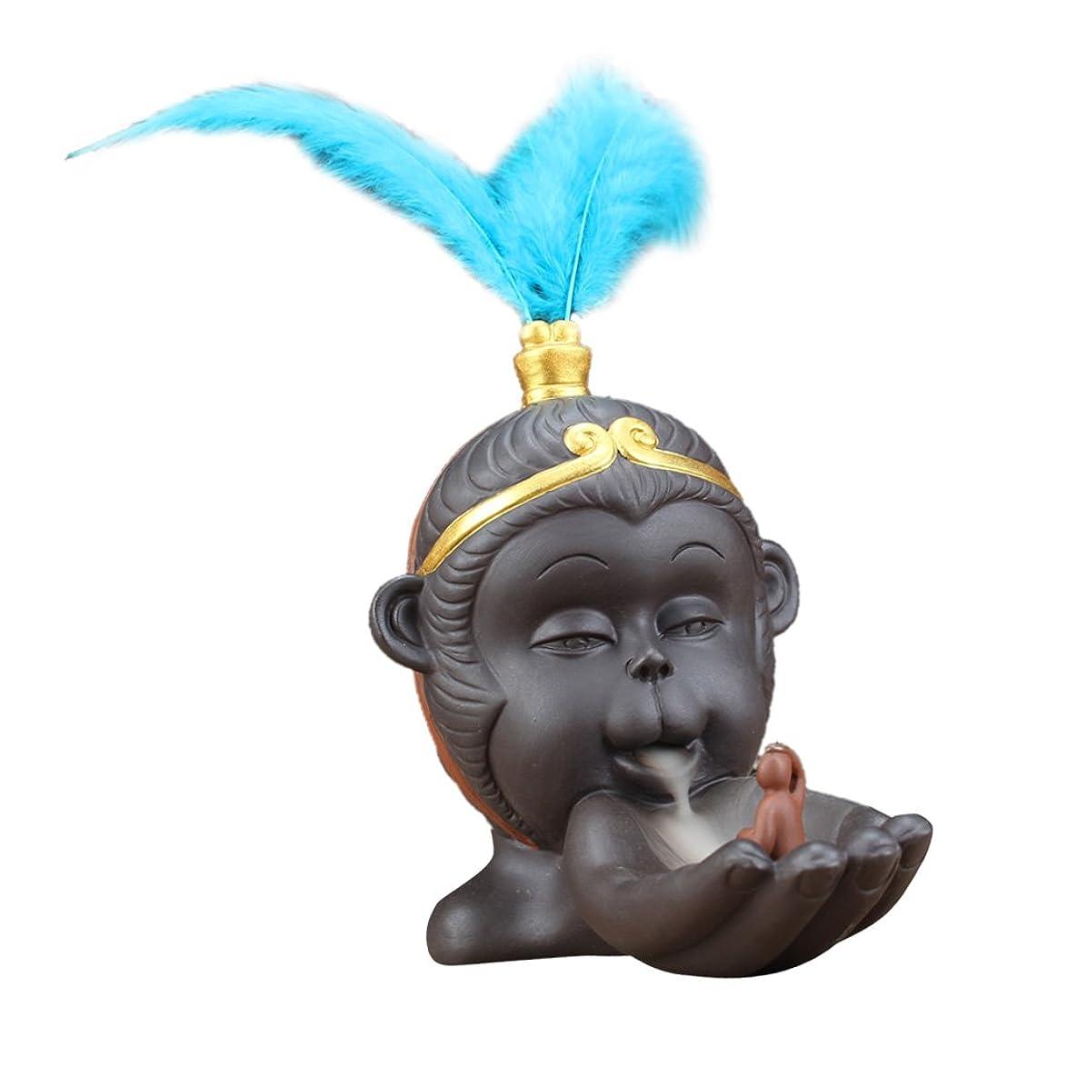 ちなみに適切な性格Perfk 仏教 香炉 バーナーホルダー 小型 逆流コーン 香バーナー 持ち運び 容易 全2色 - 青