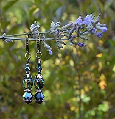 Boucles d'oreilles scarabées cristal Swarovski vert métallique - bijoux insecte gothique - mode nature/hippie