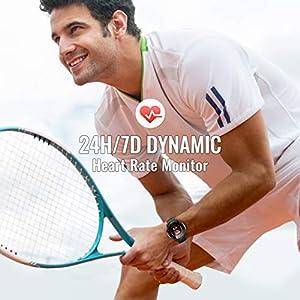 Reloj Inteligente Hombre, Hommie Smartwatch Hombre de Pantalla Táctil Ccompleta Impermeable IP68, Pulsera de Actividad Inteligente con 9 Deportes, Pulsómetro,Sueño,GPS,Caloría,3 Correas, iOS y Android
