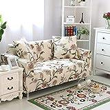 HYSENM 1/2/3/4 Sitzer Sofabezug Sofaüberwurf Stretch weich elastisch farbecht Blumen-Muster, Beige 1 Sitzer 85-140cm - 6