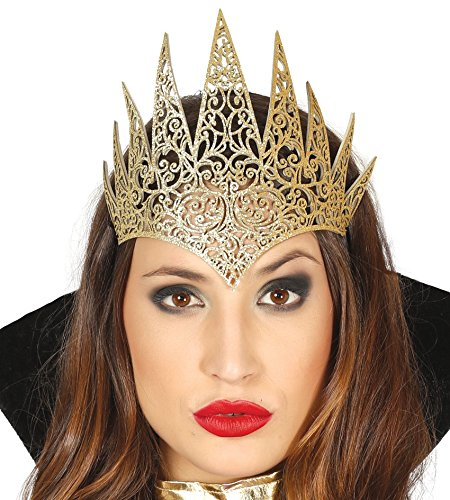 Corona de tiara de reina medieval con efecto de brillo dorado
