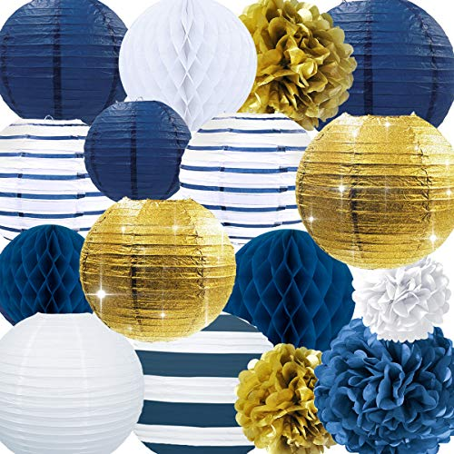 NICROLANDEE Nautical Party Supplies Glitter Gold and Stripe Paper Lanterns Navy Blue Tissue Pom Poms Hanging Honeycomb Ball for Graduation Birthday Wedding Bridal Shower Wall Decor (Nautical)