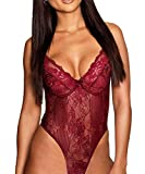 ShinyStar Women Sexy Teddy Lingerie Mesh Lace Babyoll Nightwear Lace Sleepwear Underwear Set Red