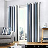 Fusion Cojín de Rayas Whitworth, 100% algodón, Forro: 52% poliéster y 48% algodón, Azul, Curtains: 66' Width x 90' Drop (168 x 229cm)