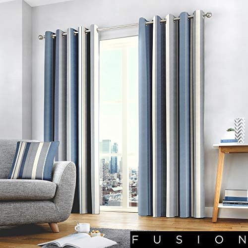 "Fusion Rayas Whitworth, Azul, Curtains: 66"" Width x 90"" Drop (168 x 229cm)"