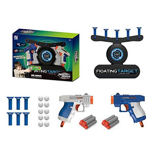 MOMSIV Schwimmendes Zielspiel, Hover Floating Shooting Target Game Toy Elektrisches Spielzeug Schaumstoff Dart Blaster Schießspielbrett mit 2 Blasterpistolen, 10 Schießpfeilen und 10 Schwimmbällen