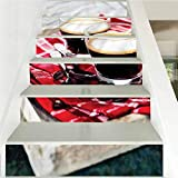 Self-Adhesive Floor Step Pasting Poster House Decoration, Coffee Freshly Brewed Espresso, Indoor and Outdoor Stair Treads to Prevent Slipping, W43.3 x H7.08 Inch x6PCS