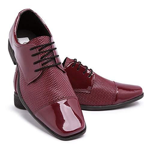 Sapato Social Masculino Estilo Italiano Couro Verniz 801 Cor:Vermelho;Tamanho:42