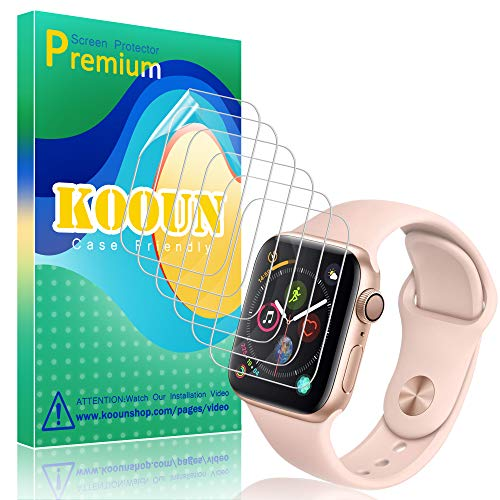 KOOUN [6 Pack] Protector de Pantalla para Apple Watch Series 4/5 40mm,[Tecnología de autocuración] [HD Film Flexible] [Anti-Mancha] TPU Protector Pantalla para Apple Watch Series 4/5 40mm