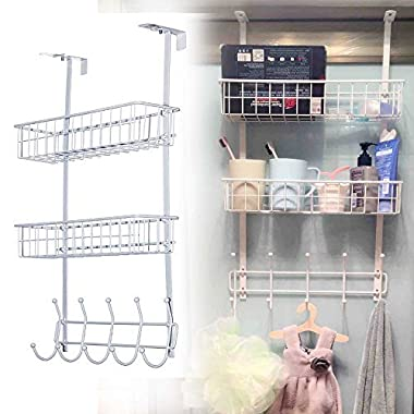 Over the Door Hook Hanger Three Tiers with 10 Hooks and 2 Mesh Basket Adjustable Storage Rack Wall Hook for Coats Hats Robes Towels (White)