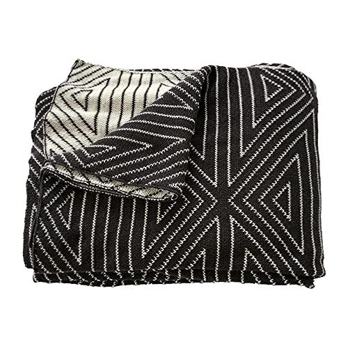 TENGTUD Manta de Punto, Manta de Doble Cara en Blanco y Negro para Cubrir la Manta / Manta de Aire Acondicionado / Manta de sofá / Manta de cama-100x150cm