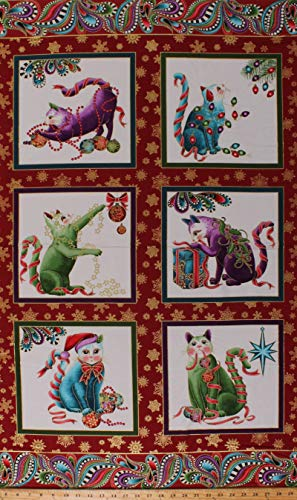 24.5' X 44' Panel Holiday Cats Paisley Paisleys Pets Felines Festive Animals Snowflakes Cat-i-tude Christmas Cotton Fabric Panel (D504.49)