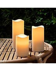Lights4fun - Conjunto de 3 Velas LED a Pilas con Temporizador para Uso en Exteriores
