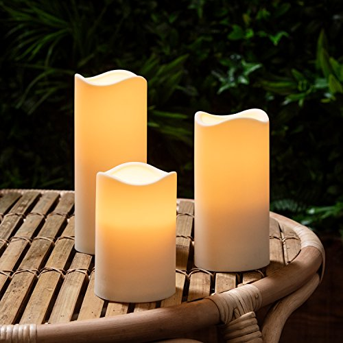 Lights4fun Set of 3 Outdoor Battery Operated LED Candles with 6 Hour Timer