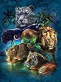 JHGJHK Tigre Leopardo León Moderno Animal Pintura al óleo Sala de Estar decoración de la habitación de los niños Pintura