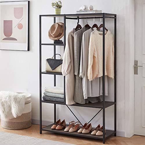Metal Garment Rack with Shelves for Room