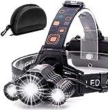 Cobiz Headlamp Flashlight USB Rechargeable - LED Brightest High 6000 Lumen Work Headlight,IPX4 Waterproof & 18650 Flashlight with Zoomable Work Light,Head Lights for Camping (Charcoal)