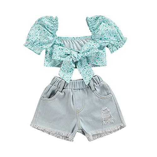 Niño Bebé Niñas Traje Puff Manga Corta Estampado Floral Anudado Crop Tops Camiseta+Ripped Denim Shorts Ropa de Verano