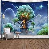 KHKJ Psychedelic Moon Starry Gran Tapiz Flor Colgante de Pared habitación Cielo...