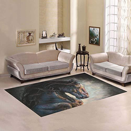 qinzuisp tapijt zwart Friese paard geheugen schuim deurmat kantoor decoratieve moderne ruimte tapijt zachte duurzame woonkamer 152X213Cm tapijt levendige antislip slaapkamer