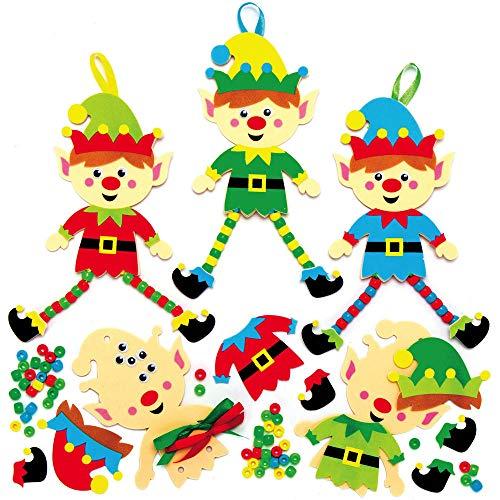 Baker Ross AX398 Kit Decorazioni Dell'Albero Di Natale Elfo - Confezione Da 5, Creativi Articoli Natalizi E Artigianali Per Bambini, Da Realizzare E Decorare.