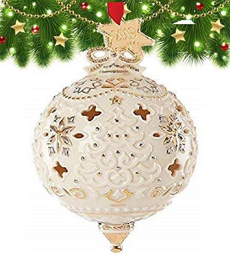 Lenox 2019 Annual Xmas Ivory Pierced Ball Spire Ornament Golden Star Tag Elegant Gift New in box