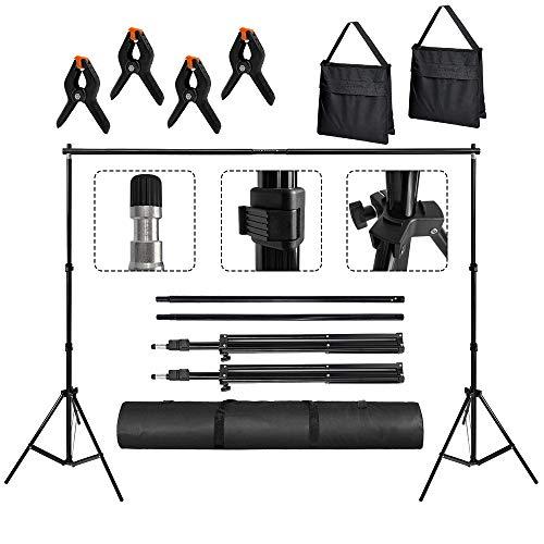 Aufun 2 x 3M Foto Hintergrund Ständer Set aus Aluminiumlegierung, Verstellbarer Hintergrundständer mit Tragetasche für Fotostudio, 5 kg Tragfähigkeit