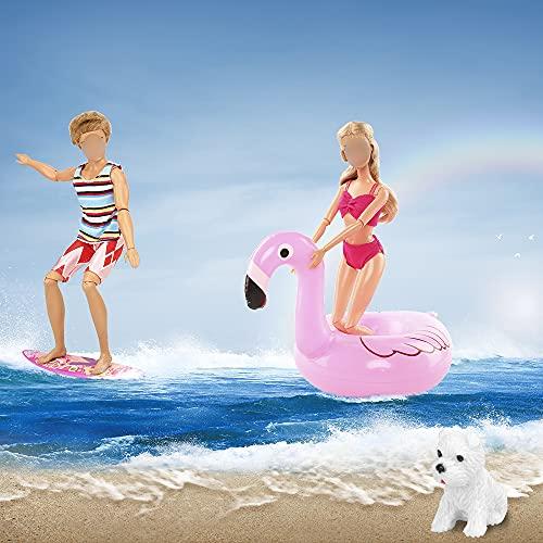 Miunana 3 Vestidos De Playa para Ninos Muñeca + 5 Traje De Baño para Ninas Muñeca + 2 Salvavidas + Tabla De Surf + Perro
