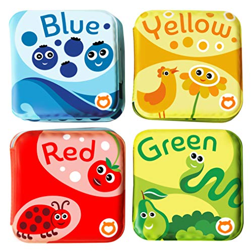 BabyBibi Floating Baby Bath Books for Baby. Kids Learning Bath Toys. Waterproof Bathtime Toys for Toddlers. Kids Educational Infant Bath Toys. (Set of 4: Color Recognition Bath Books)
