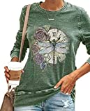 Sudadera con Estampado de libélula para Mujer Camiseta Estampada Camisa de Manga Larga con Cuello Redondo Tops inspirados Blusa Jersey