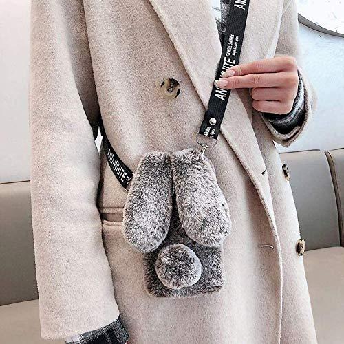 Samsung Galaxy S21 Kaninchenfell Hülle mit flauschigen Hasenohren - Samsung Galaxy S21 Braun Pelz Fuzzy Handyhülle für Frau Mädchen Weich Süß Plüsch Winter Warm Cover mit Crossbody Strap