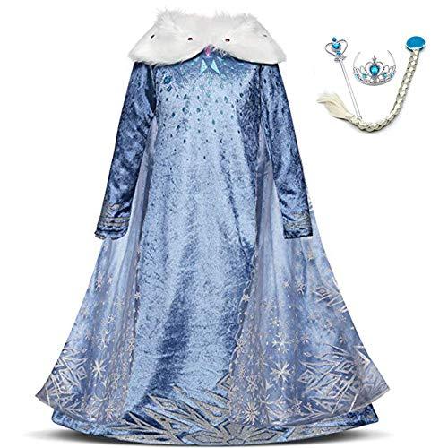 LZH 子供用 コスプレ プリンセス ドレス コスチューム 4点セット (コスプレドレス,ハートのティアラ, 魔法のステッキ, 三つ編みウィッグ) 変装 誕生日 衣装 演出ドレス