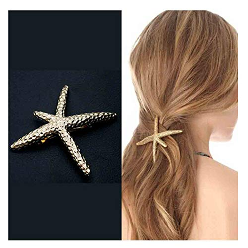 Olbye Starfish Hair Clip Gold Hair Clip Minimal Hair Barrette Holder For Women and Girls