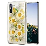 Galaxy Note 10 Plus Case Floral,Pressed Real Flower Clear Case with Design for Girls [Support Wireless Charging] Soft Silicone TPU Phone Protective Cover for Samsung Note 10 Plus,Sunflower Yellow