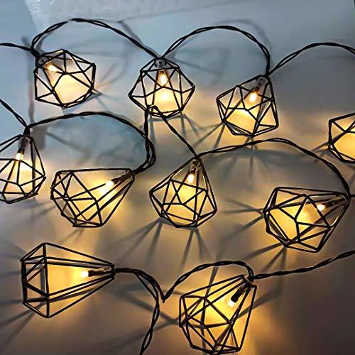 Guirnalda de luces 10 LED geometría metal linterna 1.7M Negro Bateria Cargada Decoración dormitorio balcón fiesta habitación árbol casa