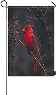 Mugod Red Bird Garden Flag Northern Cardinal Bird on The Tree Branch Decorative Spring Summer Outdoor House Flag for Garden Yard Lawn 12 x 18 Inch