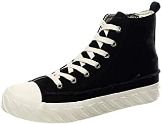 Shangruiqi Fashion Sneakers for Men Running Shoes Lace Up Fabric High Top Experienced Stitched Vegan Casual Chic Classic Cap Toe Anti Slip Anti-Wear (Color : Black, Size : 6.5 UK)
