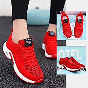 FLARUT Running Shoes Womens Lightweight FashionSoprt Sneakers Casual Walking Athletic Non Slip(Red, EU41)