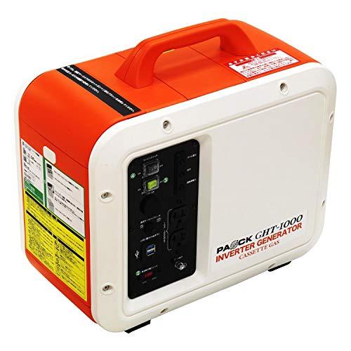 パオック(PAOCK) カセットガス式 インバータ発電機 定格出力:1.0kVA 50Hz/60Hz切替式 正弦波 GHT-1000