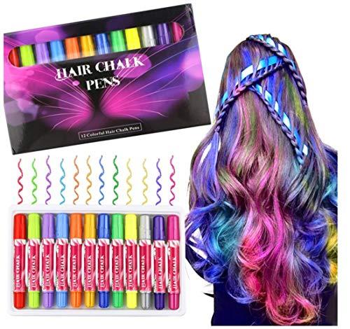 Kinder Haarkreide, Buluri Temporäre Haarfarbe 12 Farbe Haarkreide kinder Haar Colorationen,Temporäre Haarfarbe Einstellen für Kinder Teenager Waschbar
