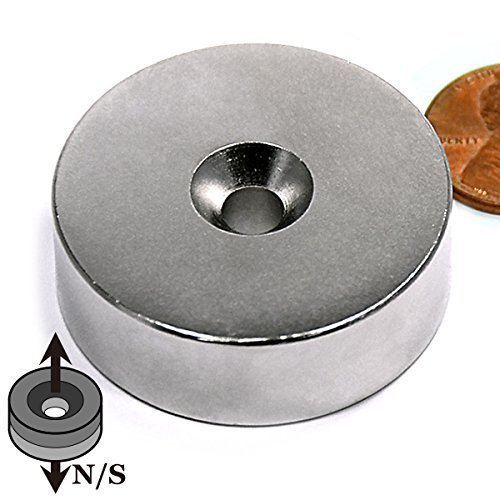 """CMS Magnetics Neodymium Magnet with Countersunk Hole on Both Sides, Grade N42 1 1/2 Diameter x 1/2"""" 1-Count"""