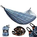 NatureFun Hamaca Ultraligera para Camping | 300 kg de Capacidad de Carga(275 x 140 cm) | Transpirable y de Secado rápido Hamaca | 2 Mosquetones Premium, 2 Eslingas Incluidas | Al Aire Libre Interior