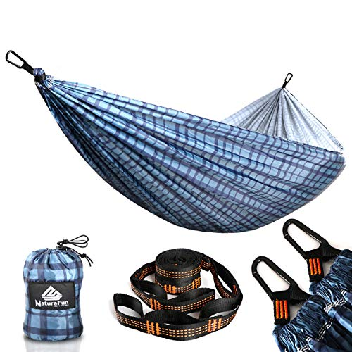 NATUREFUN Ultra-Light Travel Camping Hammock | 300kg Load Capacity,Breathable,Quick-drying Portable Hammock(275 x140cm) | 2 x Premium Carabiners,2 x Nylon Slings Included | Outdoor Indoor Garden